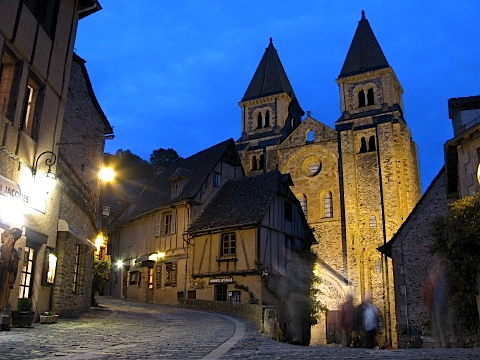 Conques and its Cathedral by night