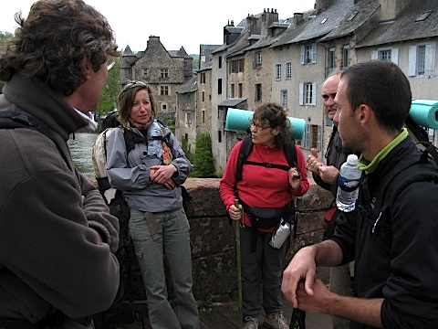 Jacques, Marie, Francoise, Hubert and Christophe on the bridge in Espalion