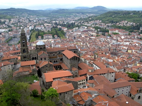View over Le Puy and its Cathedral