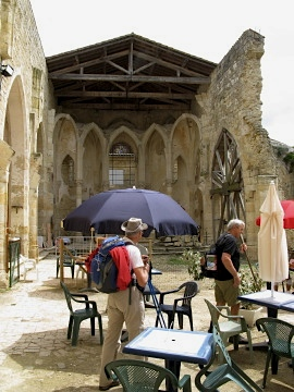 Pilgrims arrive at the cafe in Flamarens