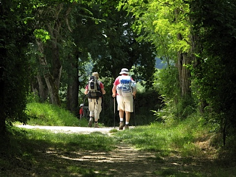 Two pilgrims make their way through the woods near Lauzerte