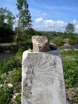 A large stone signifying a large thought placed on a way marker