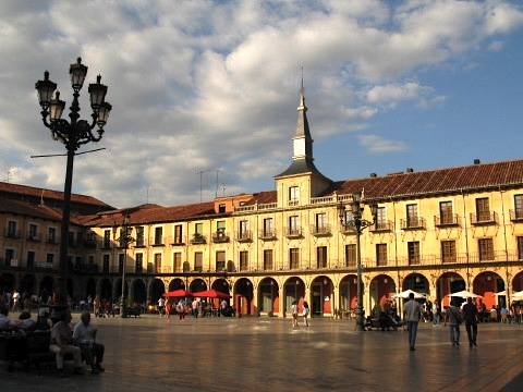 A square in Leon at sunset
