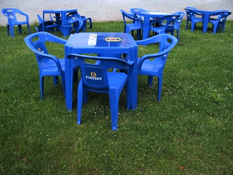 Blue chairs in Roncesvalles