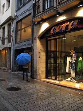 Blue umbrella in Logrono