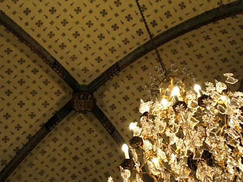 Church ceiling and chandelier