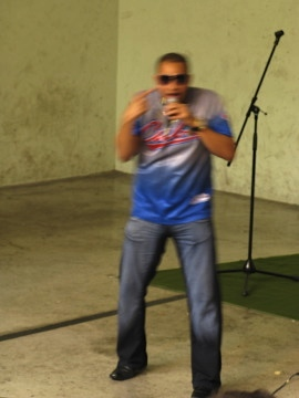Cuban singer at a concert in Pamplona