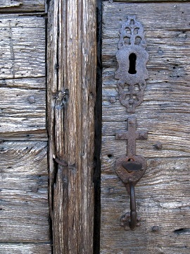Detail of church door in Pimbo
