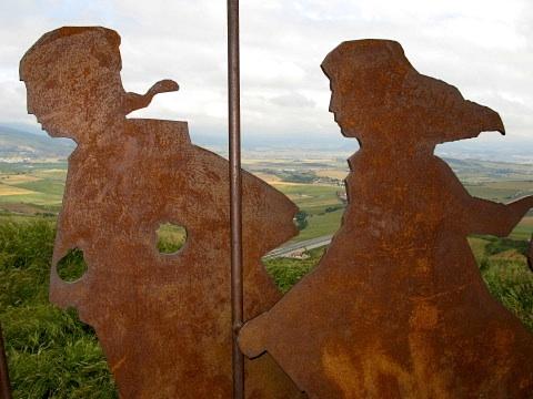 Detail of the iron sculpture at Alto del Pedron