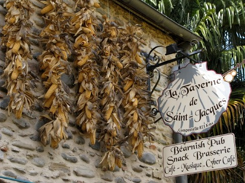Maize and pub sign in Navarrenx