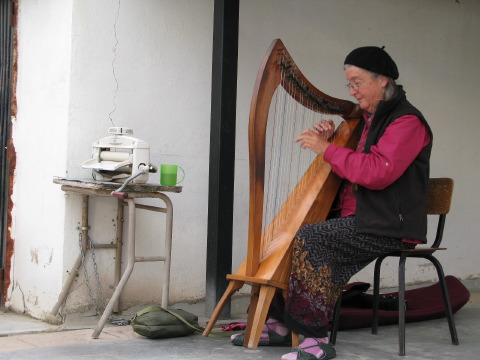 Martha Gay plays renaissance music at the albergue in the evening