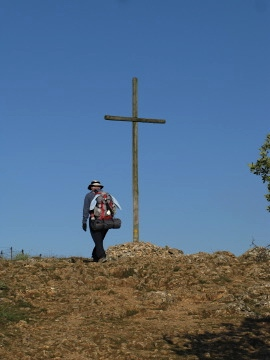 Pascal approaches the large cross above Atapuerca