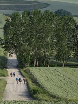 Pilgrims leaving Granon