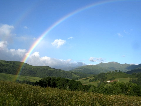 Rainbow as the ascent begins towards the Spanish border near St Jean