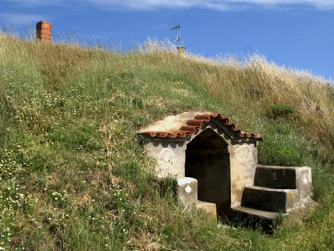 Strange underground buildings exist of the edge of Moratinos