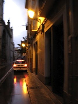 The rain soaked streets of Logrono