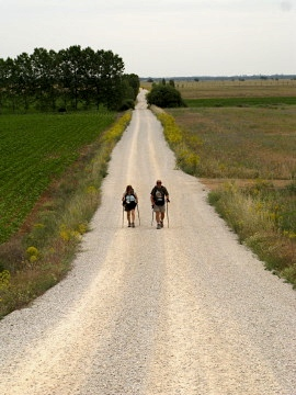 Two pilgrims plod along the lonely kilometres after Carrion de los Condes