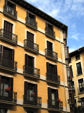 Typical building style in Pamplona