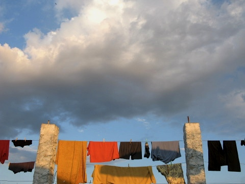 Washing hangs out to dry
