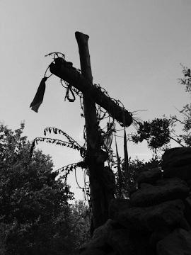 A cross deep amongst the woods