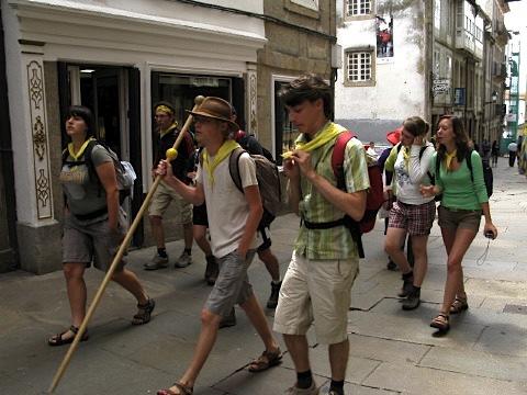 A group of Scouts arrive in Santiago de Compostela