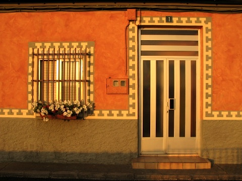 A house at sunset near Hospital de Orbigo