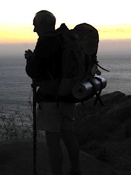 A pilgrim arrives at Cape Finisterre