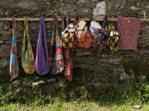 Bags and gifts for sale on the Camino