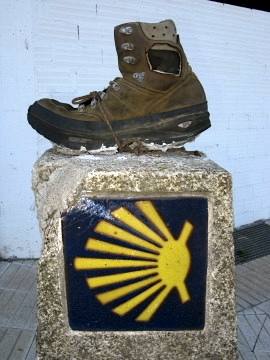 Boot stuck on a Camino marker