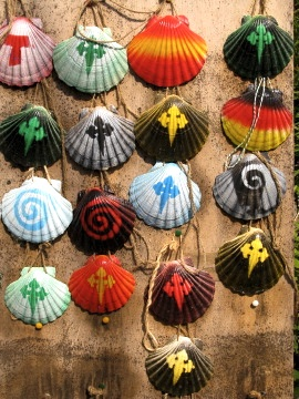 Colourful painted scallops of Saint James
