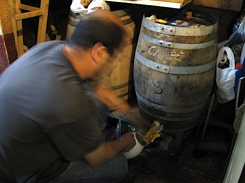 Decanting wine in a local bar