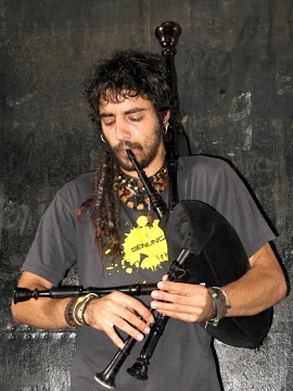 Galician bag pipe player in Santiago