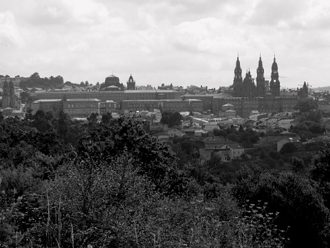 Looking back to Santiago de Compostela from the Camino