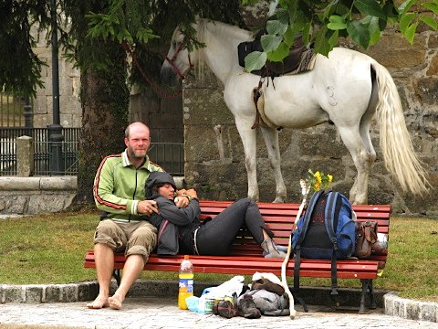 Mara and friend rest with the trusty horse