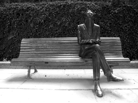 Park bench and permanent occupant