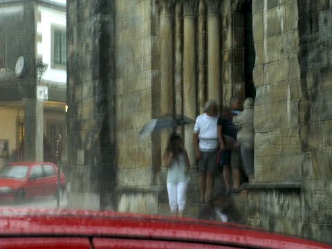 People shelter from the raging storm