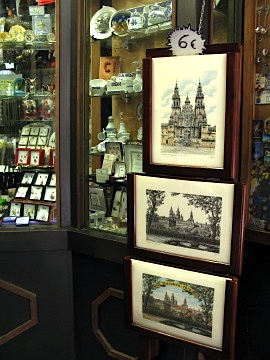Prints and souvenirs for sale in town