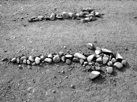Stone arrows mark the Camino