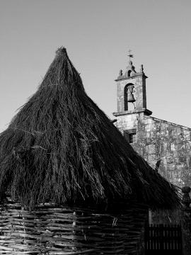 The simple Romanesque church of Santa Maria in Leboreiro