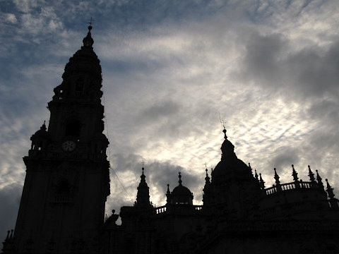 The sun sets over the Cathedral in Santiago de Compostela