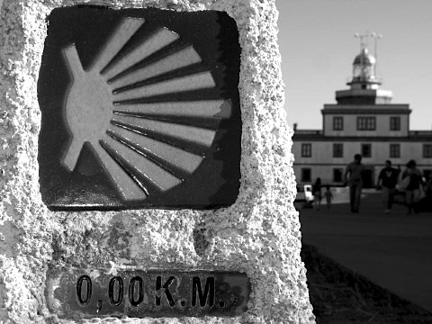 The zero km marker by the lighthouse at Cape Finisterre