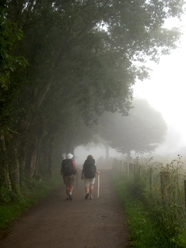 Two walkers in the early morning mist