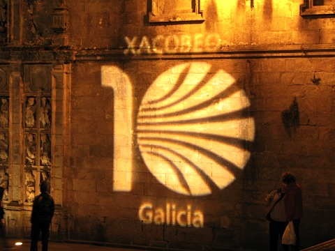 Xacobeo 2010 logo on the cathedral