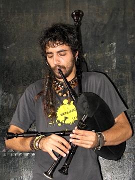 Bagpipe busker playing in Santiago de Compostela