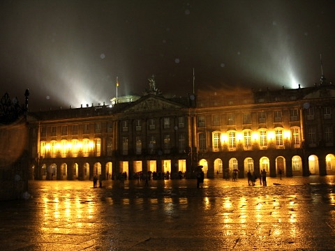It was raining on the Plaza del Obradoiro