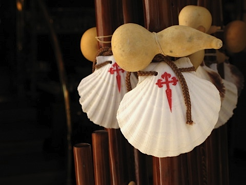Scallop shell walking sticks available in Santiago
